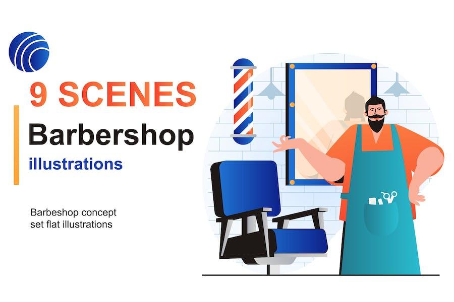 Barbershop Web Scenes Set