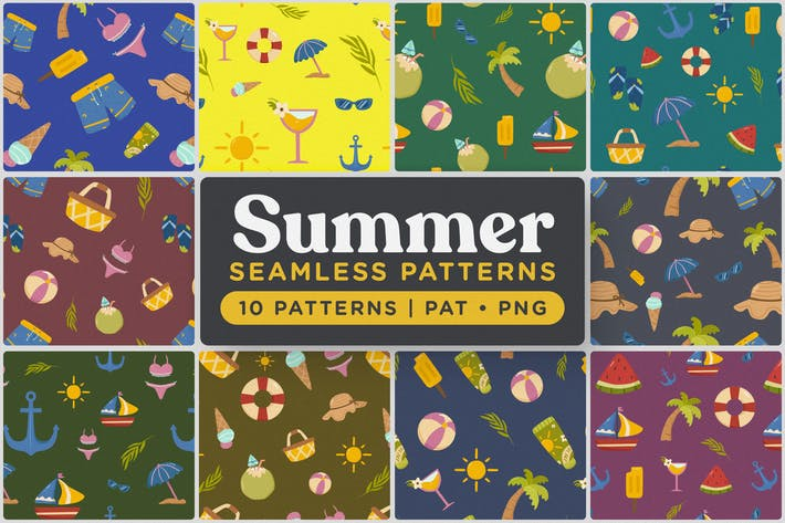Thumbnail for Playful Summer Seamless Patterns