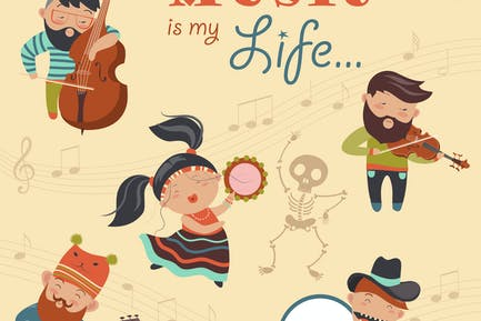 Set of vector illustrations with musicians
