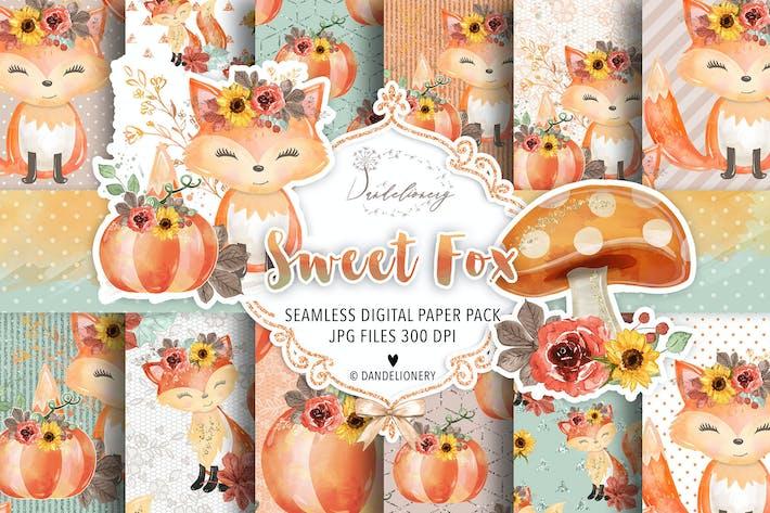 Thumbnail for Sweet Fox digital paper pack