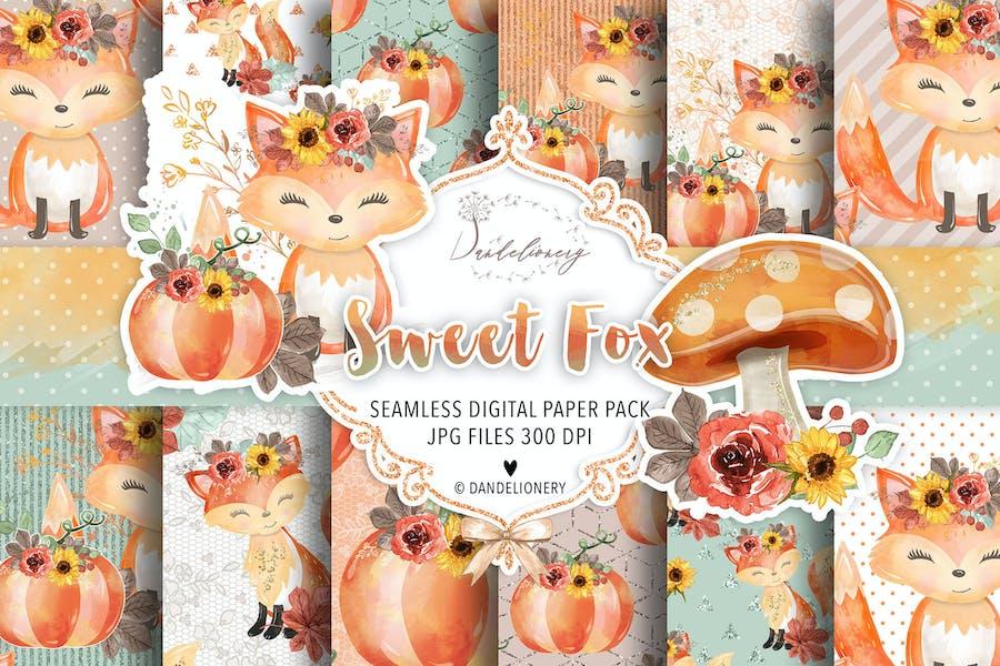 Sweet Fox digital paper pack