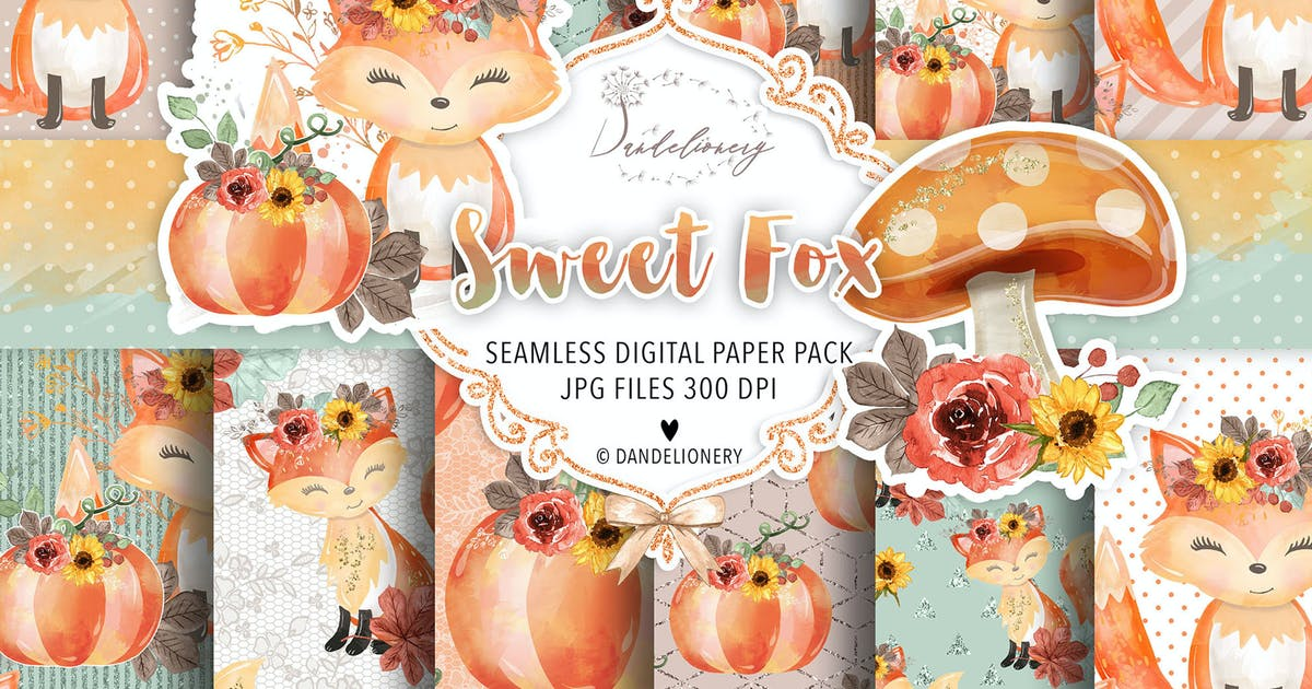 Download Sweet Fox digital paper pack by burlapandlace