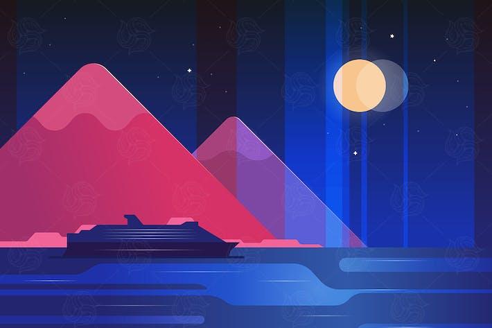Thumbnail for Night landscape - flat design illustration