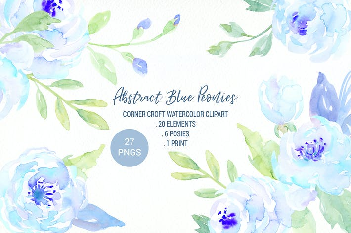 Thumbnail for Watercolor Blue Peony Collection