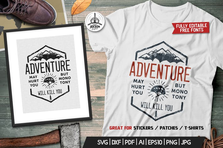 Adventure Logo Design, Camping Retro Hiking TShirt