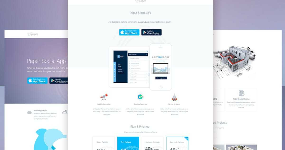 Download Paper Mulitipurpose Unbounce Landing Pages by xvelopers