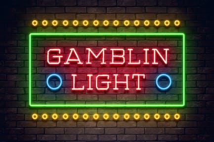 Gamblin Light Neon Font Color blanco