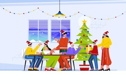 Verspielte Familie feiert Weihnachten beim Abendessen