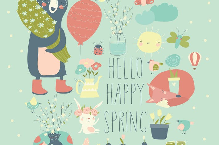 Thumbnail for Cartoon characters and spring elements. Vector