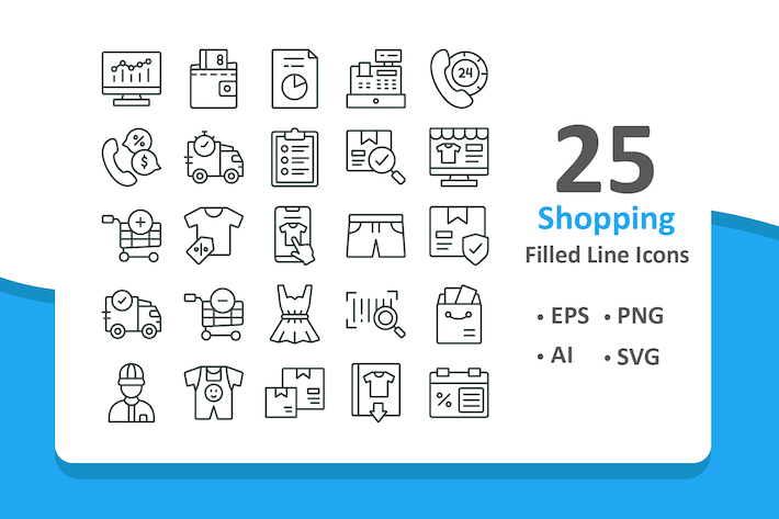 Thumbnail for 25 Shopping Icons - Line