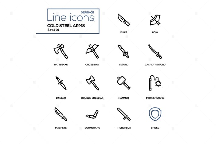 Thumbnail for Cold steel arms - modern line design icons set