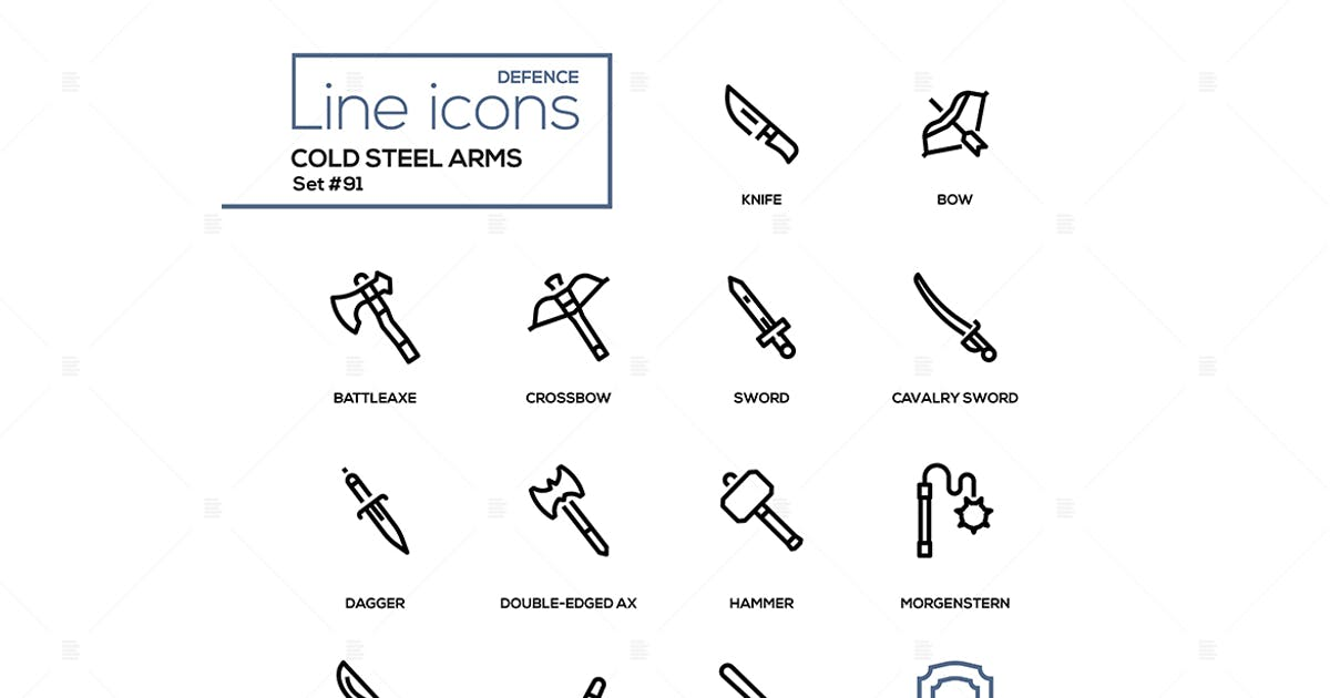 Download Cold steel arms - modern line design icons set by BoykoPictures