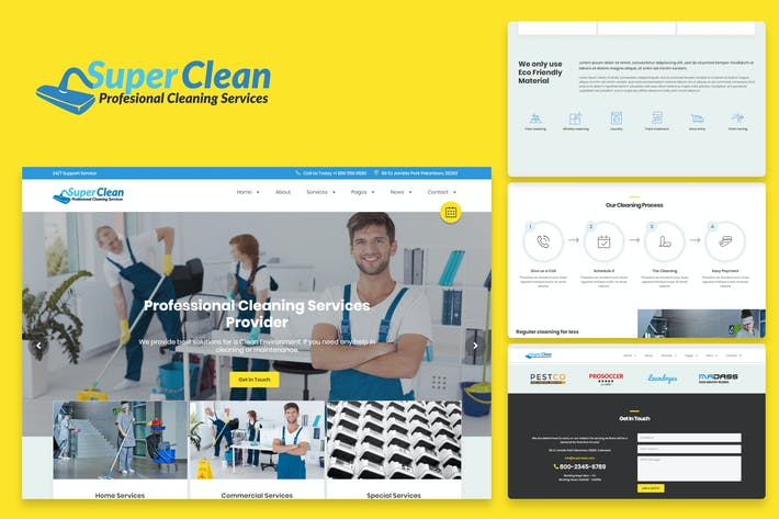 Thumbnail for Super Clean - Cleaning Services HTML Template