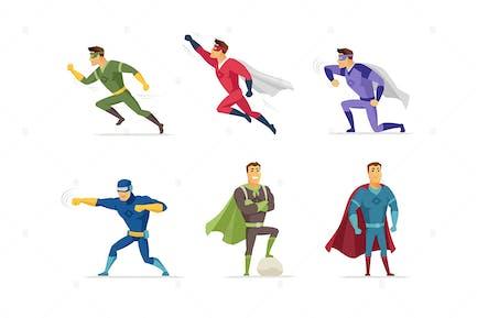 Superhero - set of cartoon characters