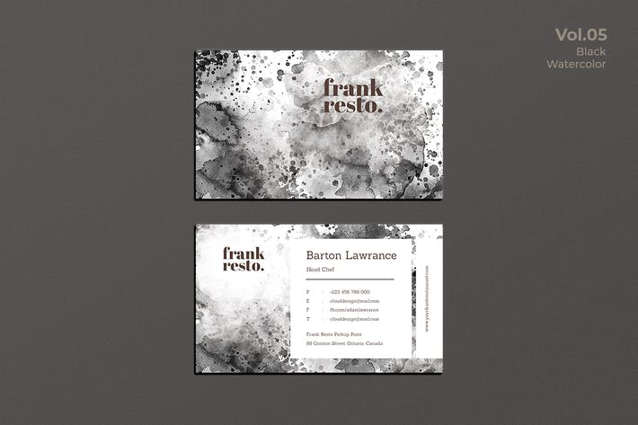 Thumbnail for Business Card Watercolor Black Vol. 5