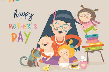 Hermosas Mujeres con sus hijos. Madres Alegre