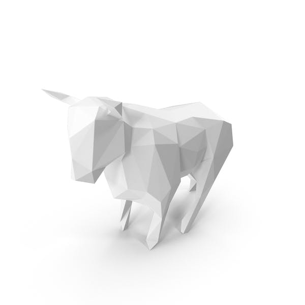 White  Low Poly Bull