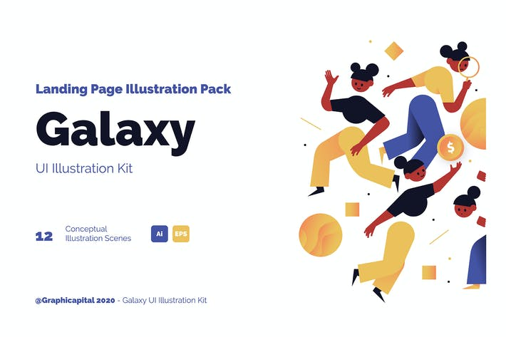 Thumbnail for Galaxy Landing Page Illustration Pack