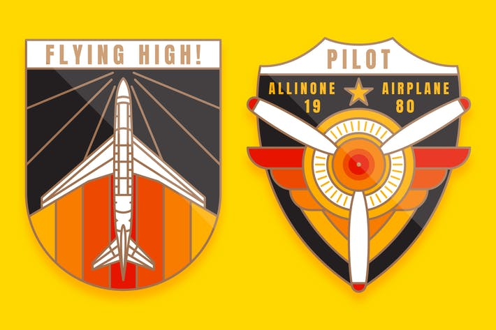 Thumbnail for 2 Flugzeug-Monoline-Logo Abzeichen
