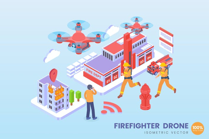 Thumbnail for Isometric Firefighter Drone Vector Concept