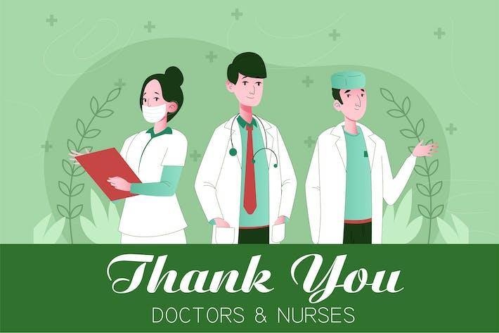 Danke Ärzte und Krankenschwestern Illustration Konzept