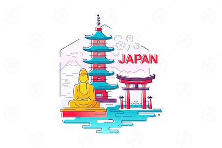 Japan - modern vector line travel illustration