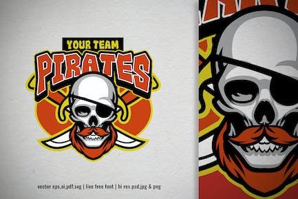 skull pirate crew for sport and e-sport logo