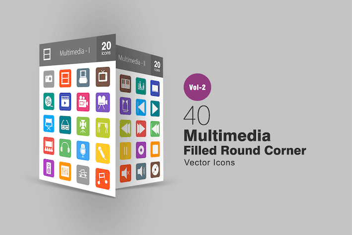 Thumbnail for 40 Multimedia Filled Round Corner Icons