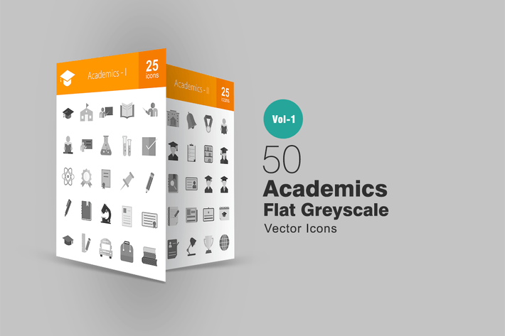 Thumbnail for 50 Academics Greyscale Icons