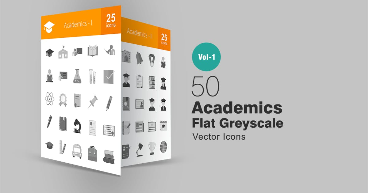 50 Academics Greyscale Icons by Unknow