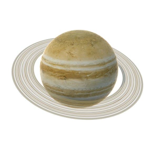 Fictional Yellow Planet with Ring