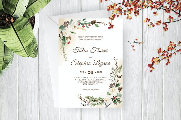 Thumbnail for Green Botanical Wreath Wedding Invitation Template