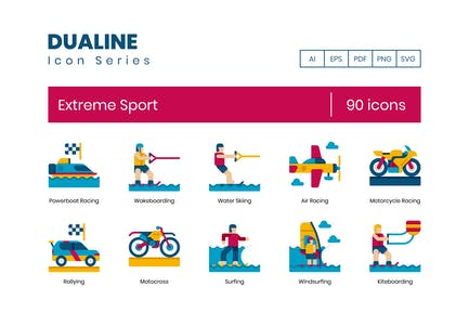 90 Extreme Sports Flache Icons