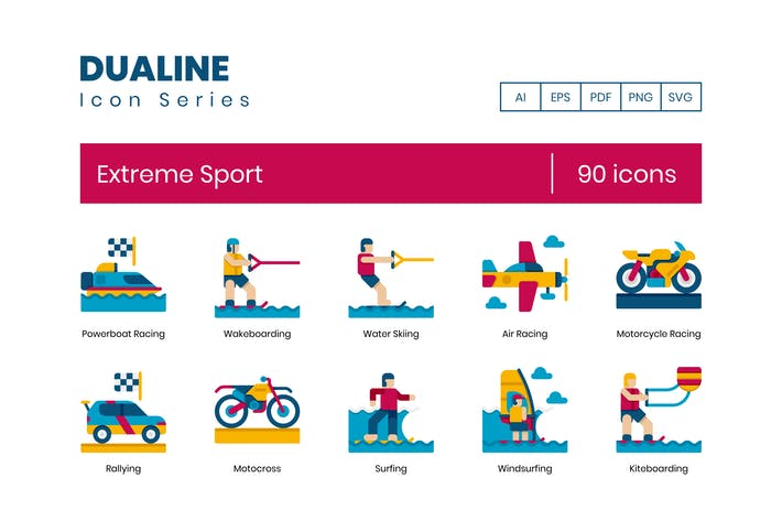 Thumbnail for 90 Extreme Sports Flat Icons