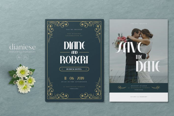 Thumbnail for Minimalist Wedding AI and PSD Invitation Vol.07