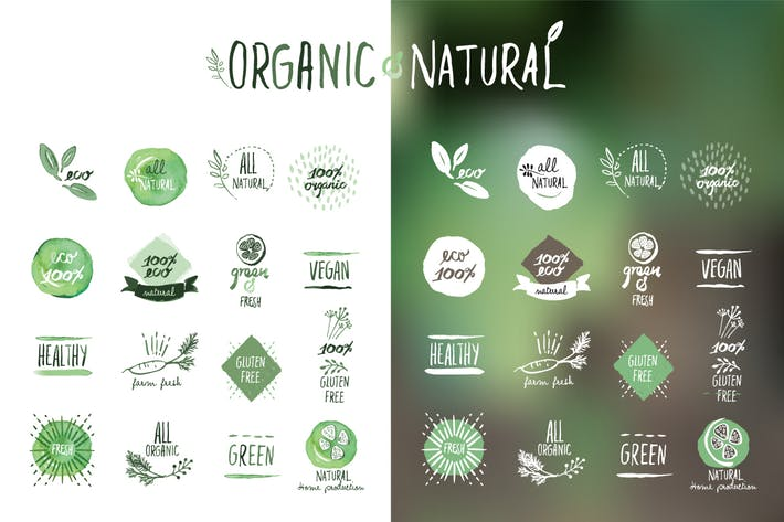 Thumbnail for Organic food stickers and badges
