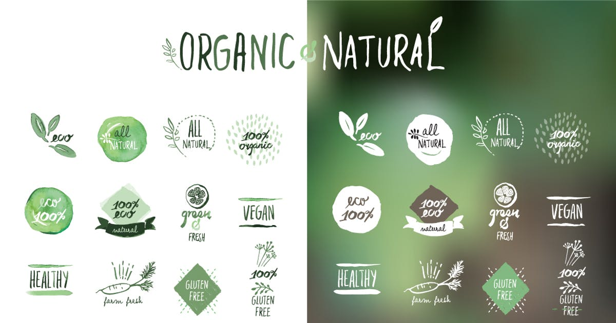 Download Organic food stickers and badges by PureSolution