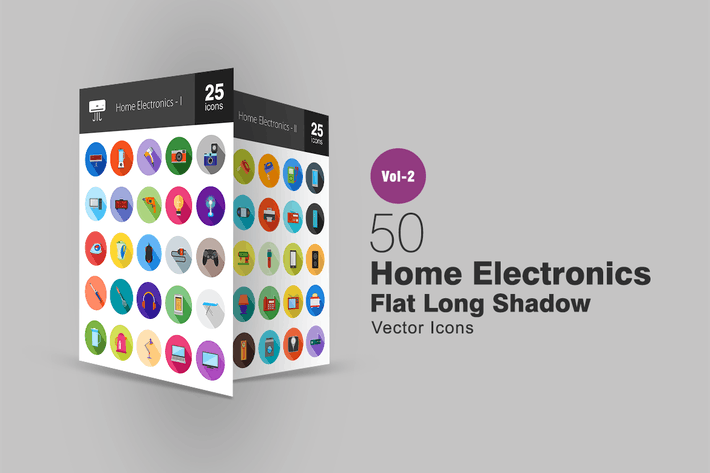 Thumbnail for 50 Home Electronics Flat Long Shadow Icons
