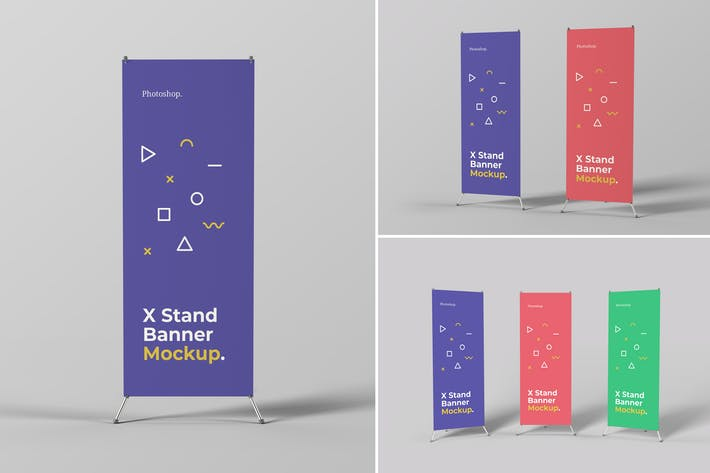 Thumbnail for X Stand Banner Mockups