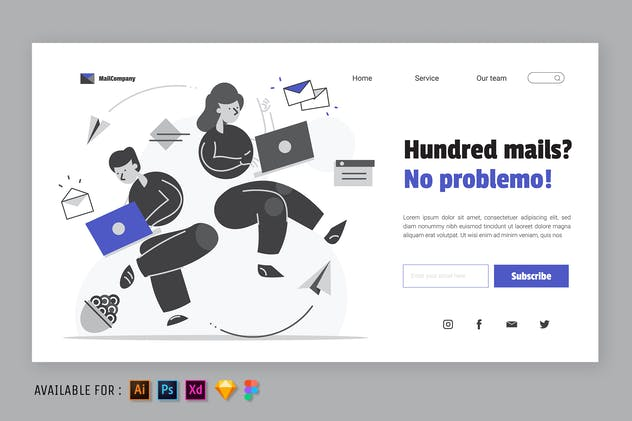 Sending an email - Web Illustration