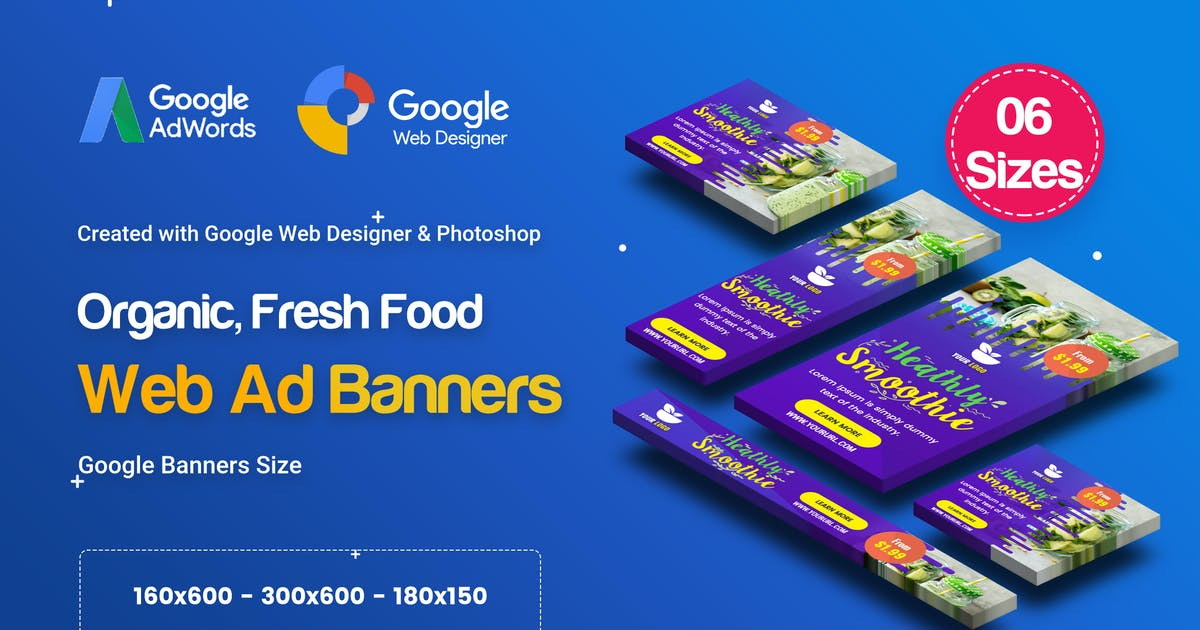 Download C49 - Organic, Fresh Food Banners GWD & PSD by iDoodle