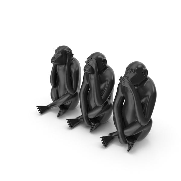 Black Monkey Statues Set Sculpture
