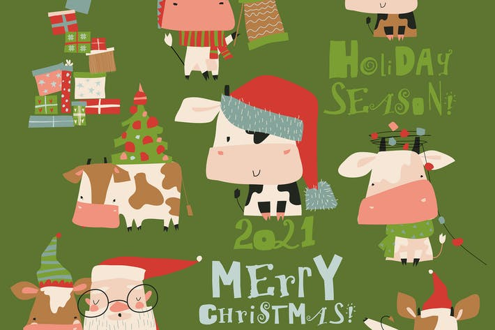 Thumbnail for Vector set of bulls in costume and hat in differen