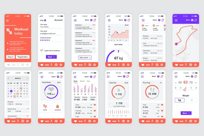Thumbnail for Fitness Mobile App UI Kit