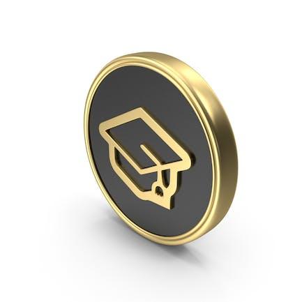 Gorra de graduación icono del Logo de la moneda