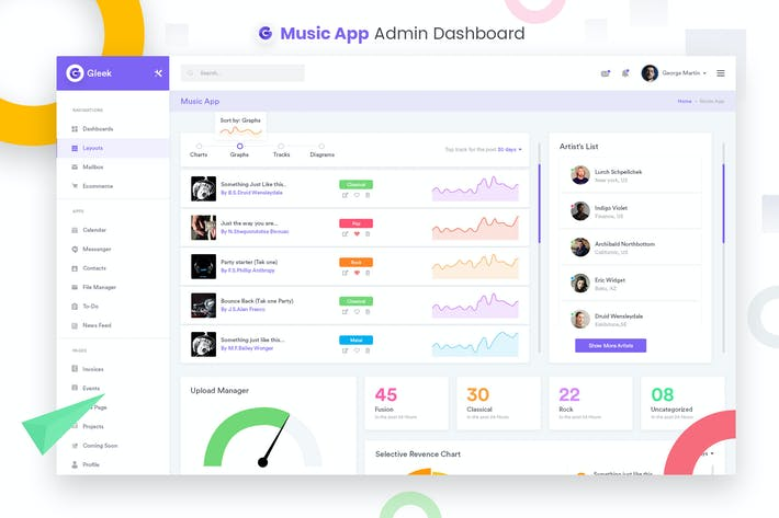 Thumbnail for Music App Admin Dashbaord UI Kit