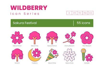55 Sakura Festival Icons - Wildberry Series