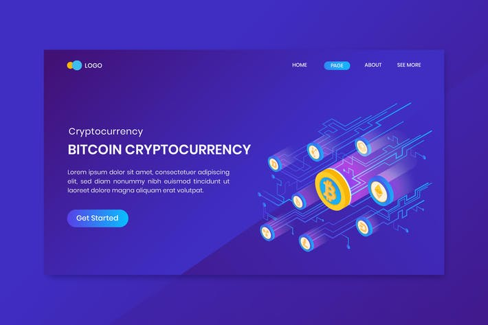 Thumbnail for Bitcoin Cryptocurrency Landing Page Template