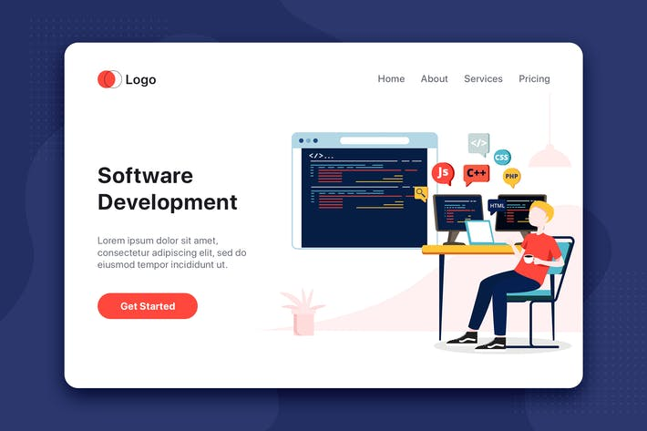 Thumbnail for Software Development flat concept for Landing page