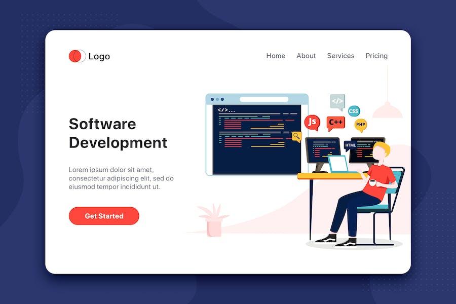 Software-Entwicklung Flachkonzept für Landing Page